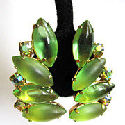 Juliana Rhinestone Earrings, Green Satin Glass Cabs