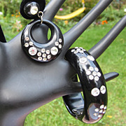 Deco Rhinestone Clamper Bracelet & Earrings, Black Thermoplastic Set