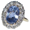 Antique Sapphire (4cts) & Diamond Ring,  14K Gold, Engagement,