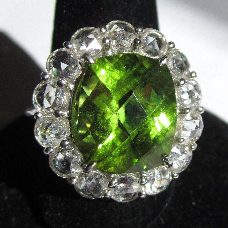 Rose Cut Diamond & Platinum Ring, 7.5ct Peridot, Vintage Engagement Ring
