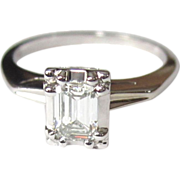 14K Diamond Engagement Ring, Emerald Cut Solitaire, 1/2 Carat