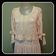 Vintage Lace Dress, Edwardian Revival, Wedding / Party,  Designer Boho