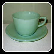 Fire King Jadeite Ransom Cup & Saucer  1700 Line Glass