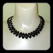 Whitby Jet Necklace, Victorian Mourning Jewelry