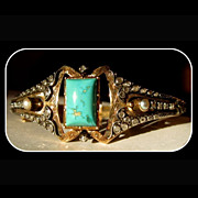18K Gold, Diamond, Pearl & Turquoise Bracelet, Victorian