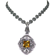 Art Deco Filigree Necklace, Czech Glass Beauty!
