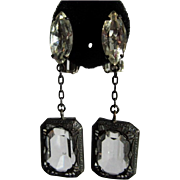 Crystal Black Filigree Frame Earrings, Lewis Segal