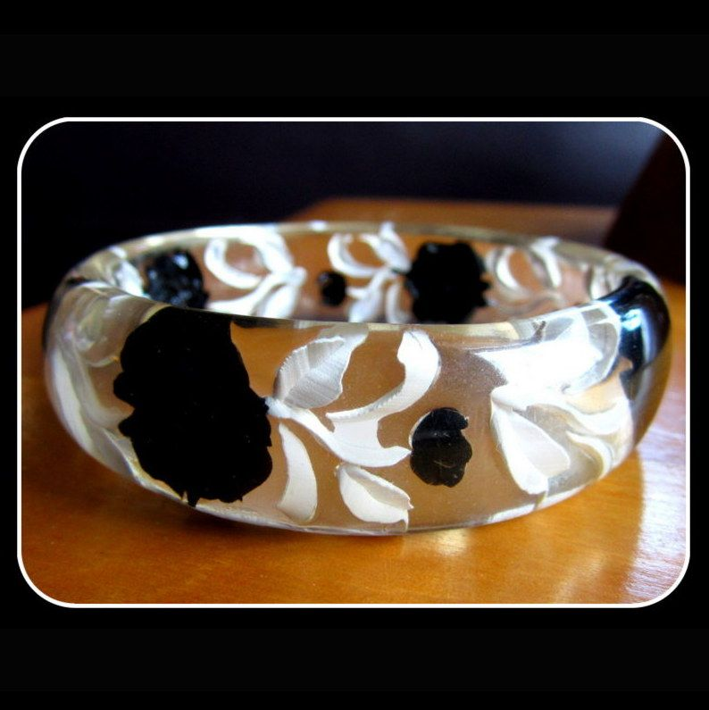 Reverse Carved Clear Lucite Bracelet, Painted Roses