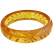 Bakelite Apple Juice Bracelet, Reverse Carved Floral Prystal Deco