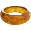 Prystal Bakelite Bracelet, Art Deco Reverse Carved Apple Juice