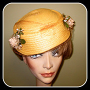Yellow Floral Hat, Vintage Straw 50's