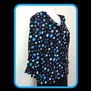 SALE Sheer Chiffon Polka Dot Blouse, 80's Ruffles Too! M