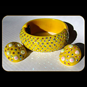 Weiss Rhinestone Bracelet & Earrings, Deco Thermoset Yellow