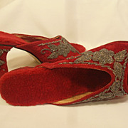 Vintage Art Deco Flapper Beaded Velvet High Heels Shoes