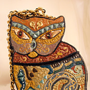 Vintage Whimsical Art Cat Handbag Cubist Design