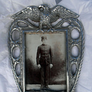 Antique Victorian  Eagle and Lion  Frame Original Soldier Picture