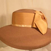 Vintage Designer Haute Couture Early 1960s Audrey Hepburn Hat Wide Brim