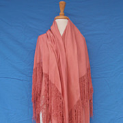Antique Victorian Large Pink Silk Piano Shawl 1880