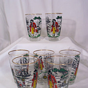 Vintage Libby Kitchen Pirate Glasses Jack Sparrow Depp 1950's