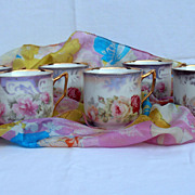 Vintage German Porcelain Flowers Coffee Tea Mugs Cups