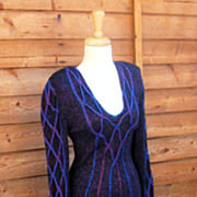 Vintage 1970's Knit Spider Web Designer  Dress