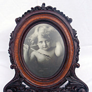Antique Victorian Large Rocco Carved Oak Wood Picture Frame