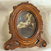 Antique Victorian Large Carved Oak Picture Frame