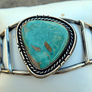Vintage Classic Pawn Sterling Silver Turquoise Gem Stone Bracelet  Navajo Indian
