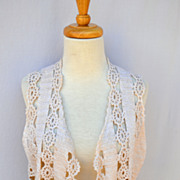 Vintage Cotton Crochet Cropped top or Jacket. See Through Design