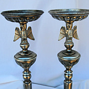 Vintage Silver Tone Tall Eagle Candle Sticks Hallmarked