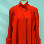 Vintage 100% Wool Red Swing Designer Coat