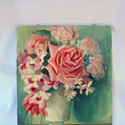 Vintage Shabby Chic Rose Flower Oil Paintings Pink Roses Romantic