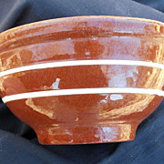 Vintage Small Redware White Stripped Pottery Bowl