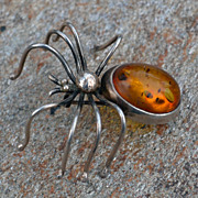 Vintage Amber Sterling Silver  Eight  legged Spider Pin