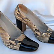Vintage Coco Chanel High Heel Shoes Black Patent Leather & Snake Skin