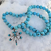 Long Turquoise Necklace with Zuni  Inlaid Dragonfly Pendant Pin