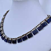 Vintage Taxco Sterling Silver Denim Lapis Mid Century Modern Design Necklace.