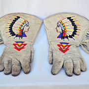 Vintage 1930s Womens Beaded Leather Rodeo Gloves Cowgirl Indian Native American Design