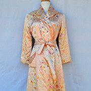 Vintage 1940's Water Color Pink Flowers Full Length Robe