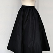 Vintage Black Taffeta Full Circle Skirt Size 12 Early 1960's
