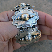 Vintage Pawn High Quality  Sterling Silver Hopi  Native American Indian Concho Bracelet & Pin