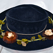 Antique Victorian Edwardian Black Velvet Hat Gold Coils Flowers and Mink