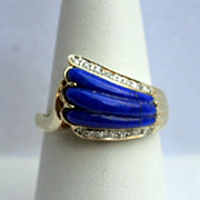 Lapis Gemstone  14 k Gold Diamond Ring  Fine Jewelry Size  9