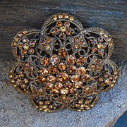 Vintage Filigree Bronze Colored Rhinestone Pin Brooch Magnificent