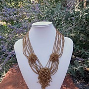Vintage Hand Beaded Roses Necklace