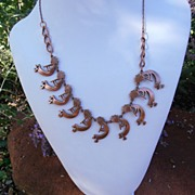 Vintage Copper Southwest Indian Native American Indian Ethnic Kokopelli Necklace