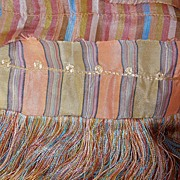 Pair French Silk Art Deco Quilt Textile Antique Throws