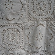 Antique Victorian Lace Cut Work Tablecloth