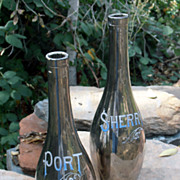 Antique Pair Mercury Glass Port Sherry Liquor Bottles Art Glass