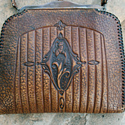 Vintage Meeker Arts and Crafts Leather Art Nouveau Handbag Purse